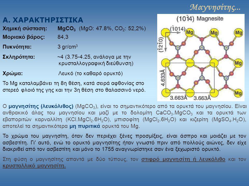 Μαγνησίτης... Α. ΧΑΡΑΚΤΗΡΙΣΤΙΚΑ Χημική σύσταση: MgCO 3 (MgO: 47.8%, CO 2 : 52,2%) Μοριακό βάρος: 84,3 Πυκνότητα: 3 gr/cm 3 Σκληρότητα: ~4 (3.75-4.25,