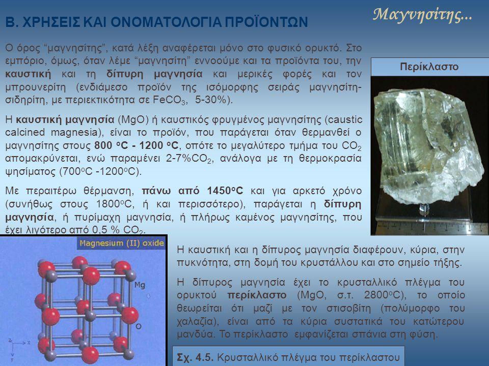 """Μαγνησίτης... Β. ΧΡΗΣΕΙΣ ΚΑΙ ΟΝΟΜΑΤΟΛΟΓΙΑ ΠΡΟΪΟΝΤΩΝ Ο όρος """"μαγνησίτης"""", κατά λέξη αναφέρεται μόνο στο φυσικό ορυκτό. Στο εμπόριο, όμως, όταν λέμε """"μα"""