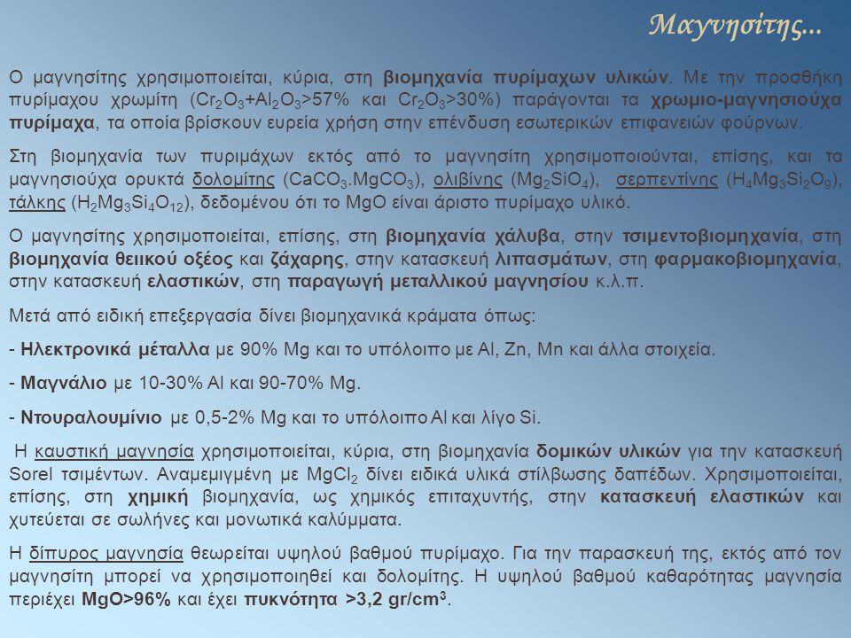 Μαγνησίτης... Ο μαγνησίτης χρησιμοποιείται, κύρια, στη βιομηχανία πυρίμαχων υλικών. Με την προσθήκη πυρίμαχου χρωμίτη (Cr 2 O 3 +Al 2 O 3 >57% και Cr