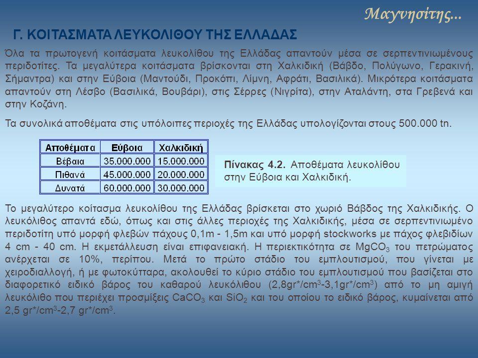 Μαγνησίτης... Όλα τα πρωτογενή κοιτάσματα λευκολίθου της Ελλάδας απαντούν μέσα σε σερπεντινιωμένους περιδοτίτες. Τα μεγαλύτερα κοιτάσματα βρίσκονται σ