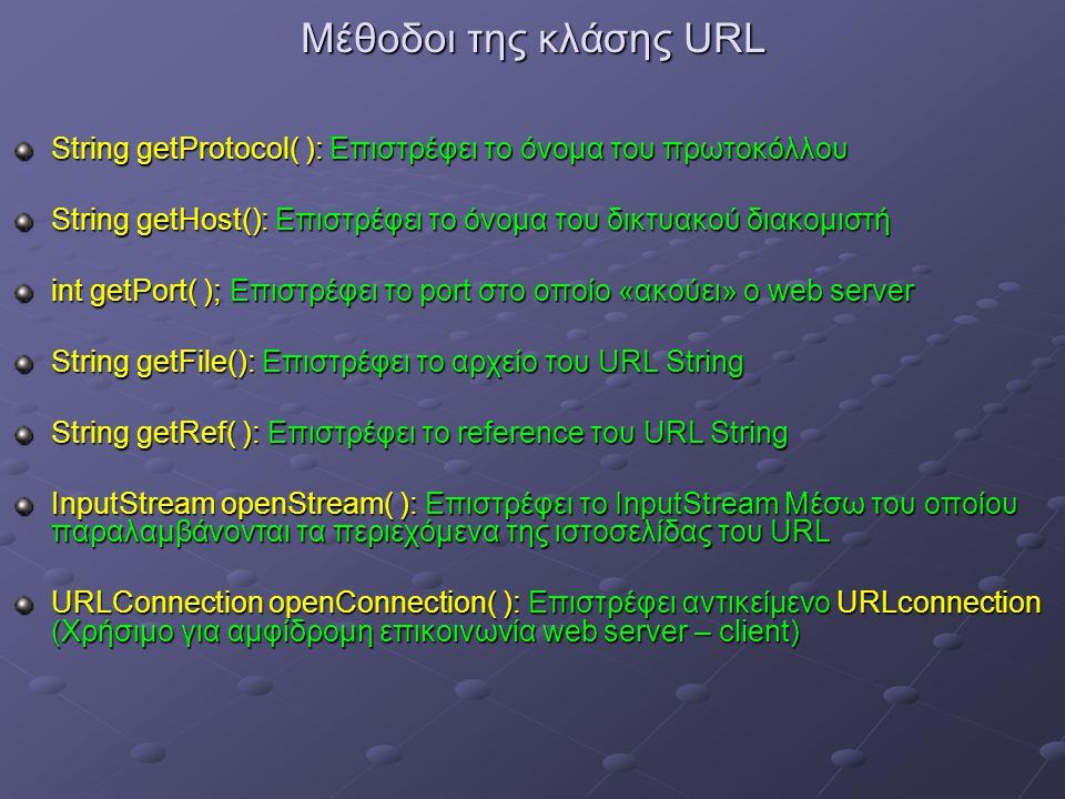 Μέθοδοι της κλάσης URL String getProtocol( ): Επιστρέφει το όνομα του πρωτοκόλλου String getHost(): Επιστρέφει το όνομα του δικτυακού διακομιστή int getPort( ); Επιστρέφει το port στο οποίο «ακούει» ο web server String getFile(): Επιστρέφει το αρχείο του URL String String getRef( ): Επιστρέφει το reference του URL String InputStream openStream( ): Επιστρέφει το InputStream Μέσω του οποίου παραλαμβάνονται τα περιεχόμενα της ιστοσελίδας του URL URLConnection openConnection( ): Επιστρέφει αντικείμενο URLconnection (Χρήσιμο για αμφίδρομη επικοινωνία web server – client)