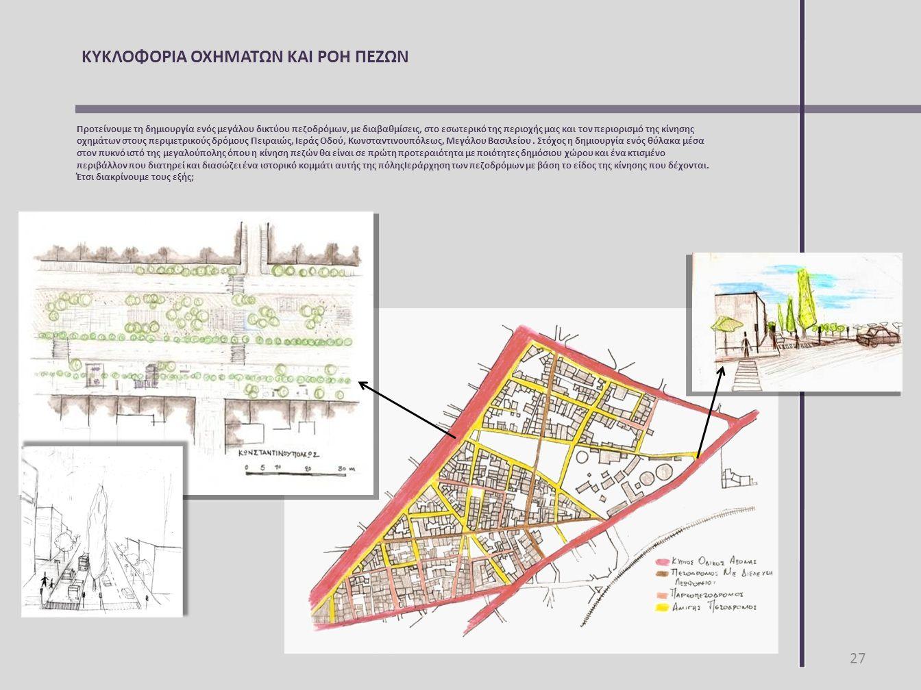 ΚΥΚΛΟΦΟΡΙΑ ΟΧΗΜΑΤΩΝ ΚΑΙ ΡΟΗ ΠΕΖΩΝ Προτείνουμε τη δημιουργία ενός μεγάλου δικτύου πεζοδρόμων, με διαβαθμίσεις, στο εσωτερικό της περιοχής μας και τον π