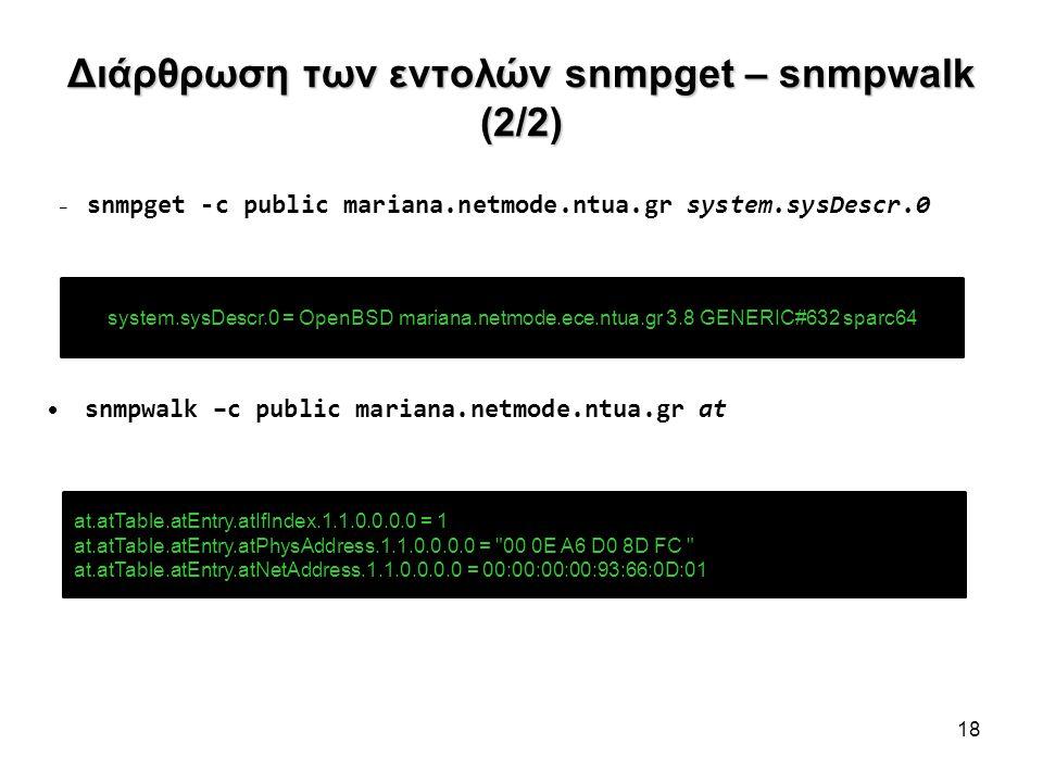 Διάρθρωση των εντολών snmpget – snmpwalk (2/2) – snmpget -c public mariana.netmode.ntua.gr system.sysDescr.0 snmpwalk –c public mariana.netmode.ntua.g