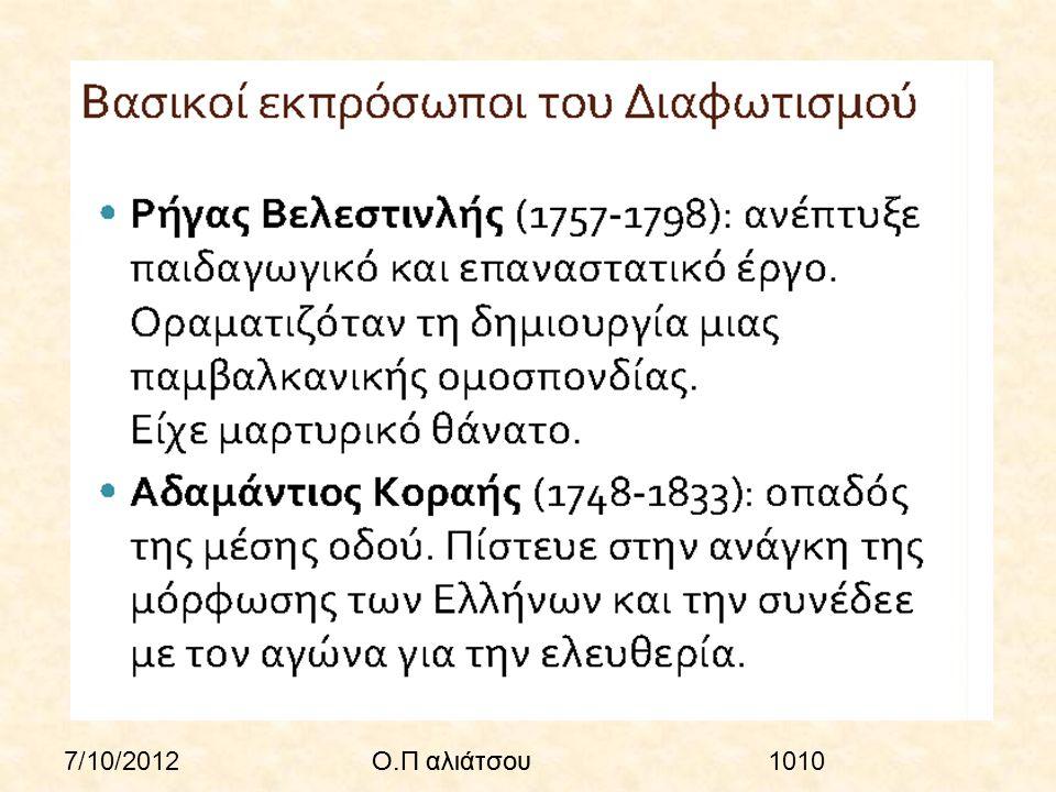 7/10/2012Ο.Π αλιάτσου1010Ο.Π αλιάτσου