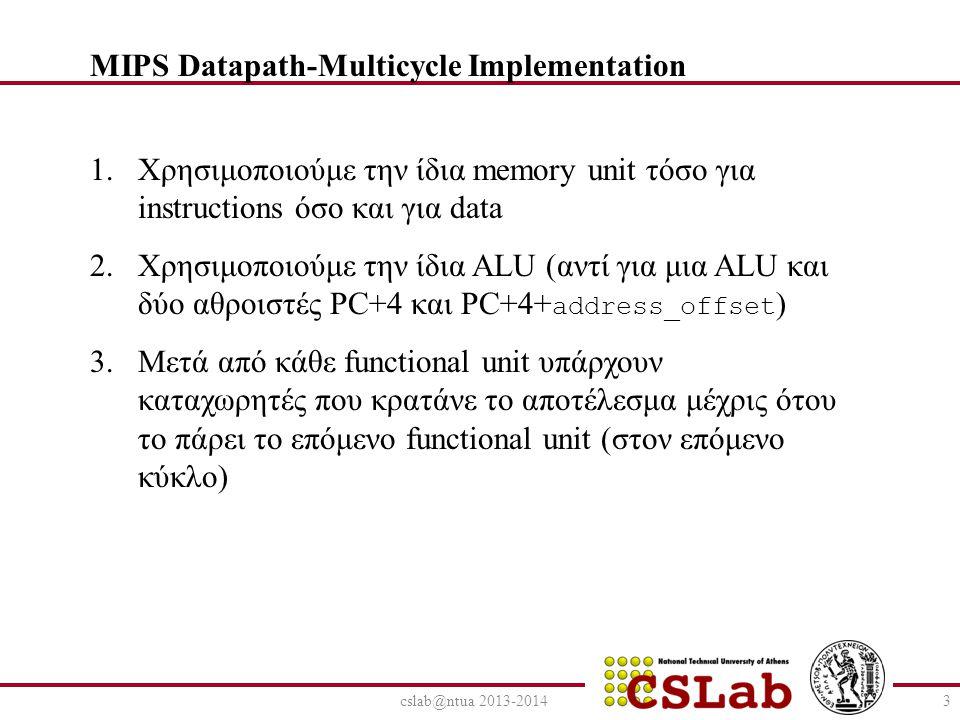 cslab@ntua 2013-20143 1.Χρησιμοποιούμε την ίδια memory unit τόσο για instructions όσο και για data 2.Χρησιμοποιούμε την ίδια ALU (αντί για μια ALU και δύο αθροιστές PC+4 και PC+4+ address_offset ) 3.Μετά από κάθε functional unit υπάρχουν καταχωρητές που κρατάνε το αποτέλεσμα μέχρις ότου το πάρει το επόμενο functional unit (στον επόμενο κύκλο) MIPS Datapath-Multicycle Implementation