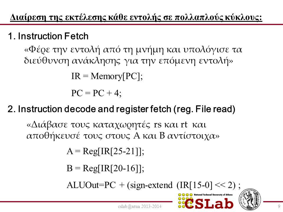 cslab@ntua 2013-20149 Διαίρεση της εκτέλεσης κάθε εντολής σε πολλαπλούς κύκλους: 1. Instruction Fetch «Φέρε την εντολή από τη μνήμη και υπολόγισε τα δ