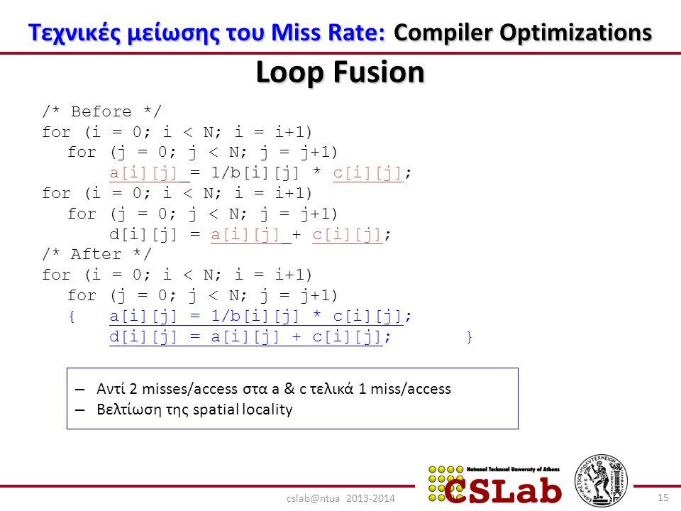 Τεχνικές μείωσης του Miss Rate: Compiler Optimizations Loop Fusion /* Before */ for (i = 0; i < N; i = i+1) for (j = 0; j < N; j = j+1) a[i][j] = 1/b[i][j] * c[i][j]; for (i = 0; i < N; i = i+1) for (j = 0; j < N; j = j+1) d[i][j] = a[i][j] + c[i][j]; /* After */ for (i = 0; i < N; i = i+1) for (j = 0; j < N; j = j+1) {a[i][j] = 1/b[i][j] * c[i][j]; d[i][j] = a[i][j] + c[i][j]; } – Αντί 2 misses/access στα a & c τελικά 1 miss/access – Βελτίωση της spatial locality 15 cslab@ntua 2013-2014