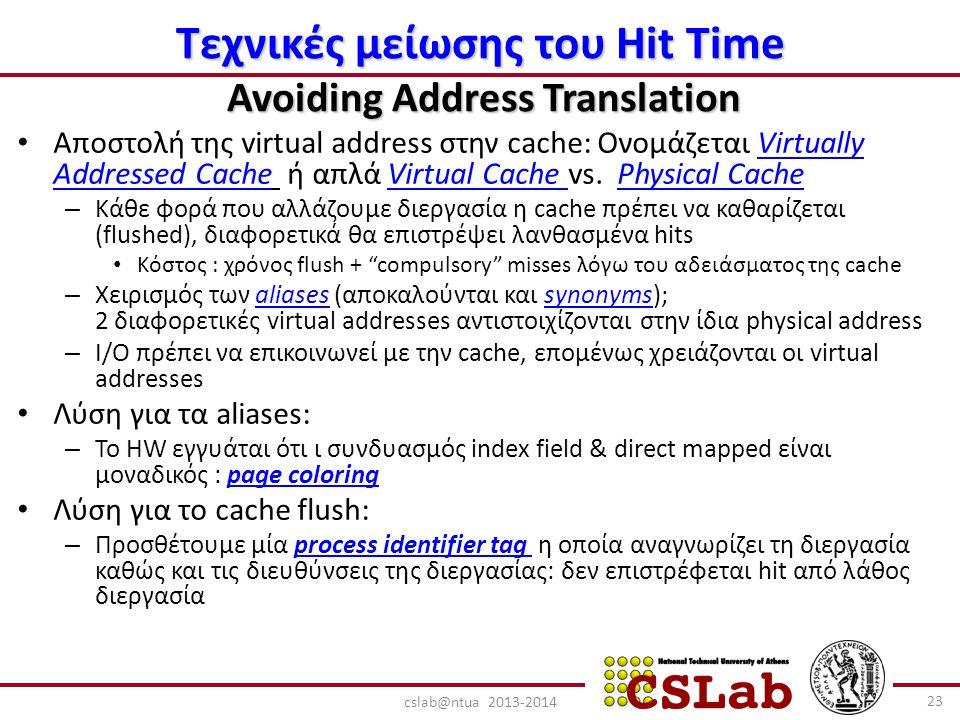 Τεχνικές μείωσης του Hit Time Avoiding Address Translation Αποστολή της virtual address στην cache: Ονομάζεται Virtually Addressed Cache ή απλά Virtual Cache vs.