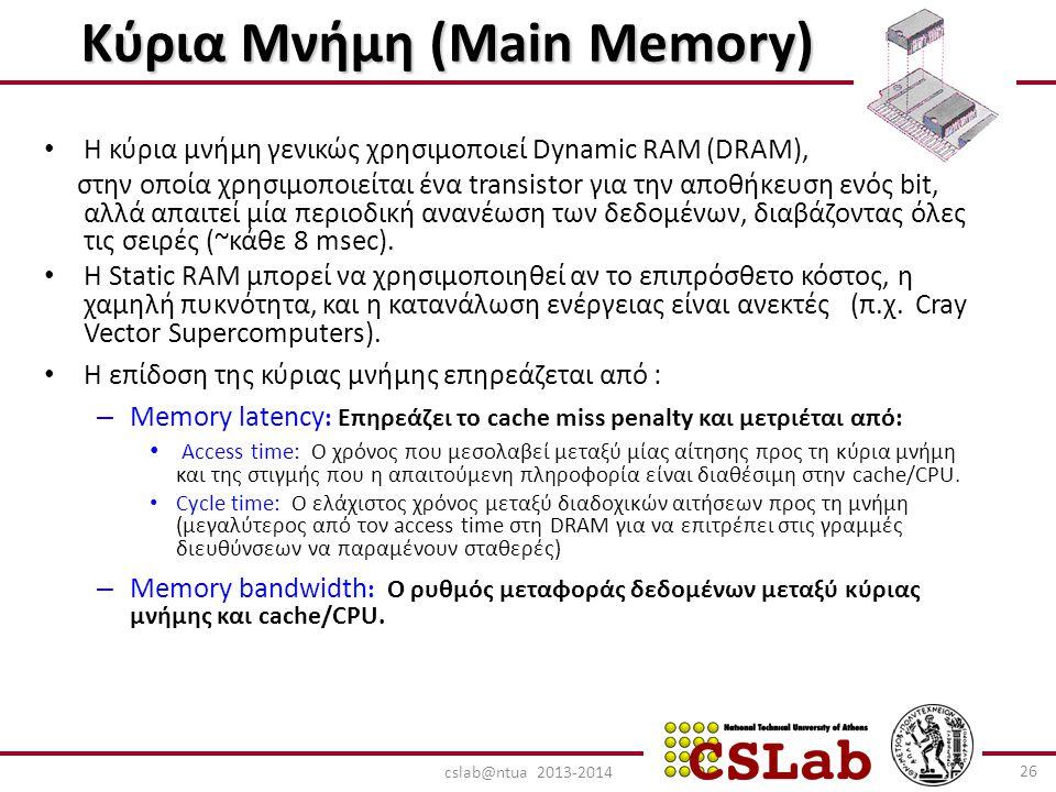 Κύρια Μνήμη (Main Memory) Κύρια Μνήμη (Main Memory) Η κύρια μνήμη γενικώς χρησιμοποιεί Dynamic RAM (DRAM), στην οποία χρησιμοποιείται ένα transistor για την αποθήκευση ενός bit, αλλά απαιτεί μία περιοδική ανανέωση των δεδομένων, διαβάζοντας όλες τις σειρές (~κάθε 8 msec).