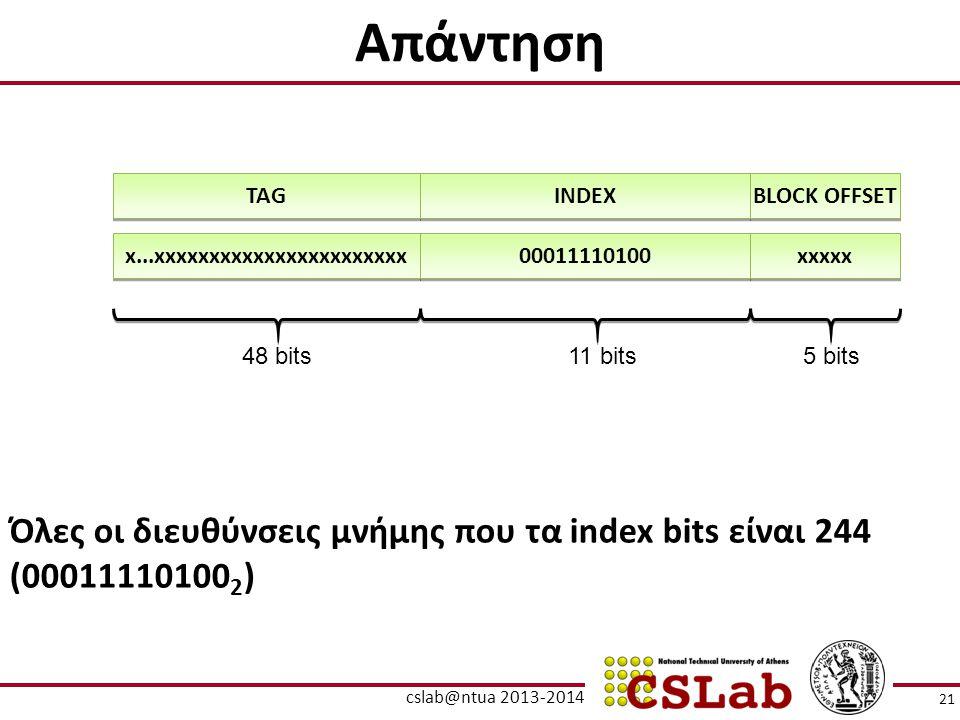Απάντηση Όλες οι διευθύνσεις μνήμης που τα index bits είναι 244 (00011110100 2 ) TAG INDEX BLOCK OFFSET 5 bits11 bits48 bits x...xxxxxxxxxxxxxxxxxxxxx