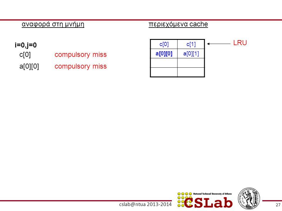 27 cslab@ntua 2013-2014 αναφορά στη μνήμηπεριεχόμενα cache c[0]c[1] a[0][0]a[0][1] i=0,j=0 c[0]compulsory miss a[0][0]compulsory miss LRU