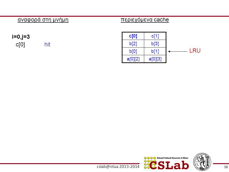 αναφορά στη μνήμηπεριεχόμενα cache c[0]c[1] b[2]b[3] b[0]b[1] a[0][2]a[0][3] i=0,j=3 c[0]hit LRU 38 cslab@ntua 2013-2014
