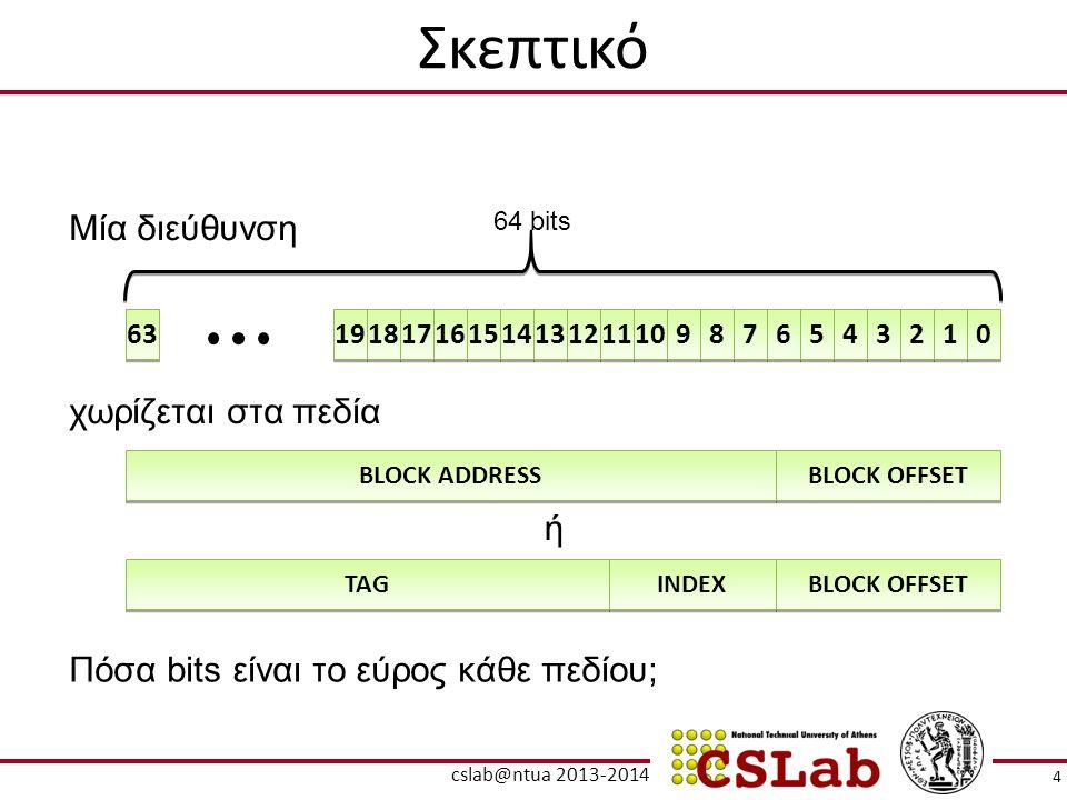 Σκεπτικό BLOCK ADDRESS BLOCK OFFSET 19 18 17 16 15 14 13 12 11 10 9 9 8 8 7 7 6 6 5 5 4 4 3 3 2 2 1 1 0 0 63 64 bits Μία διεύθυνση χωρίζεται στα πεδία