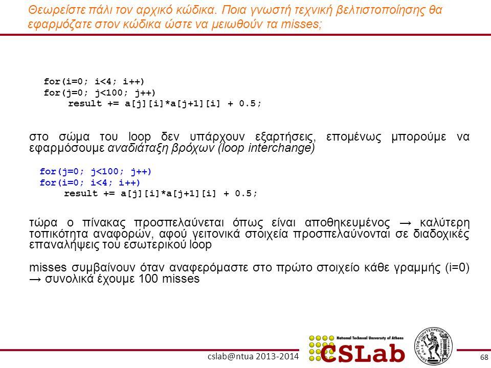 Θεωρείστε πάλι τον αρχικό κώδικα. Ποια γνωστή τεχνική βελτιστοποίησης θα εφαρμόζατε στον κώδικα ώστε να μειωθούν τα misses; for(i=0; i<4; i++) for(j=0