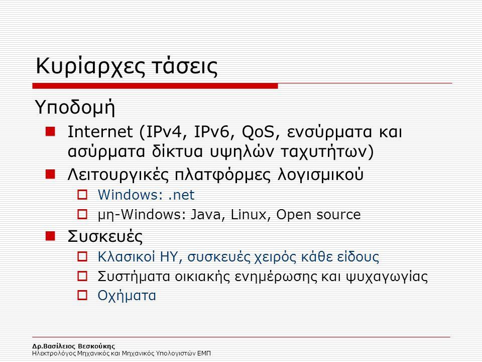 Δρ.Βασίλειος Βεσκούκης Ηλεκτρολόγος Μηχανικός και Μηχανικός Υπολογιστών ΕΜΠ Κυρίαρχες τάσεις Υποδομή Internet (IPv4, IPv6, QoS, ενσύρματα και ασύρματα