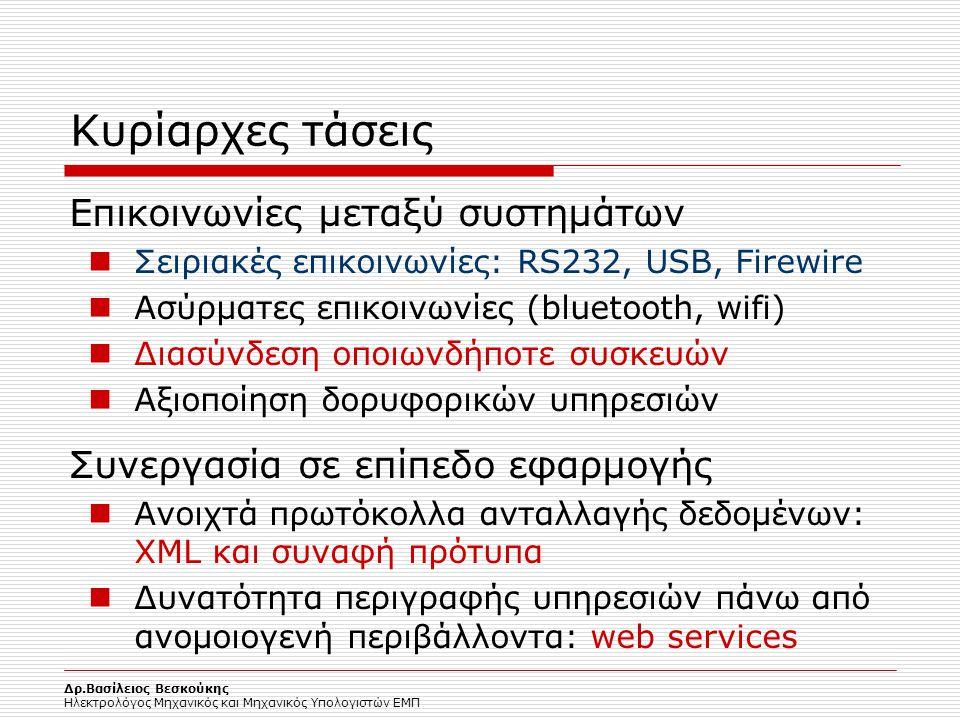 Δρ.Βασίλειος Βεσκούκης Ηλεκτρολόγος Μηχανικός και Μηχανικός Υπολογιστών ΕΜΠ Κυρίαρχες τάσεις Επικοινωνίες μεταξύ συστημάτων Σειριακές επικοινωνίες: RS