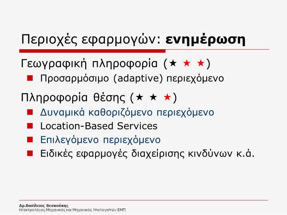 Δρ.Βασίλειος Βεσκούκης Ηλεκτρολόγος Μηχανικός και Μηχανικός Υπολογιστών ΕΜΠ Περιοχές εφαρμογών: ενημέρωση Γεωγραφική πληροφορία (    ) Προσαρμόσιμο
