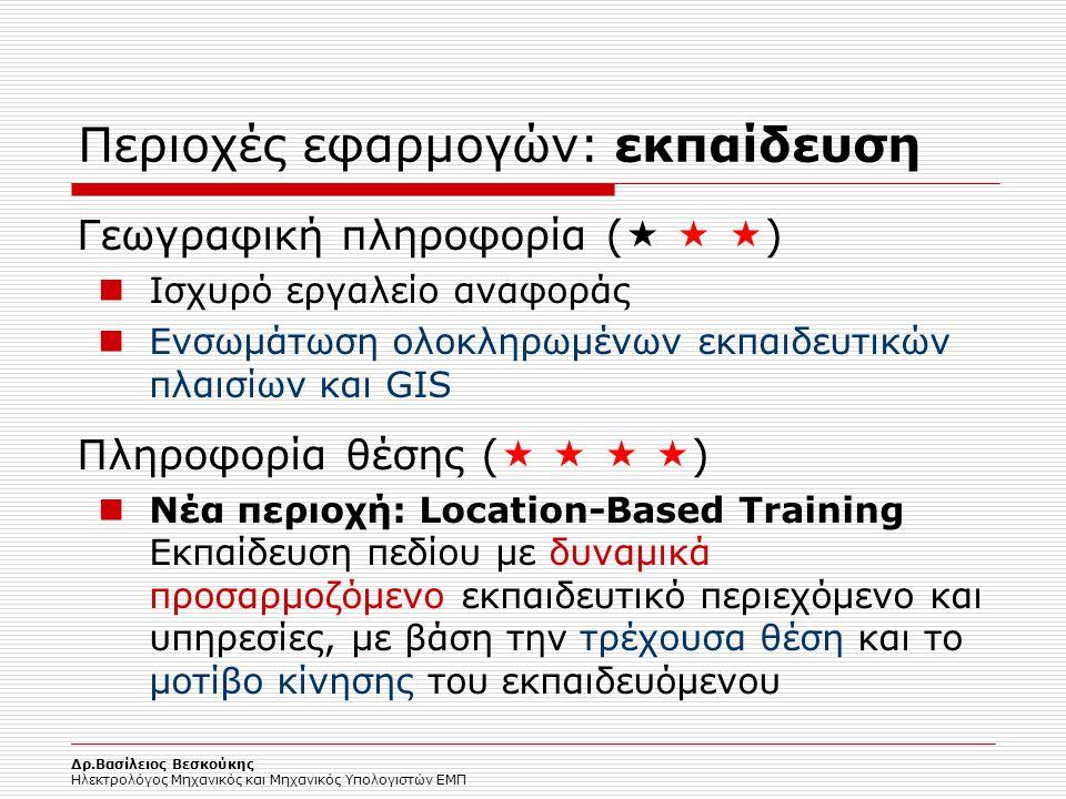 Δρ.Βασίλειος Βεσκούκης Ηλεκτρολόγος Μηχανικός και Μηχανικός Υπολογιστών ΕΜΠ Περιοχές εφαρμογών: εκπαίδευση Γεωγραφική πληροφορία (    ) Ισχυρό εργα