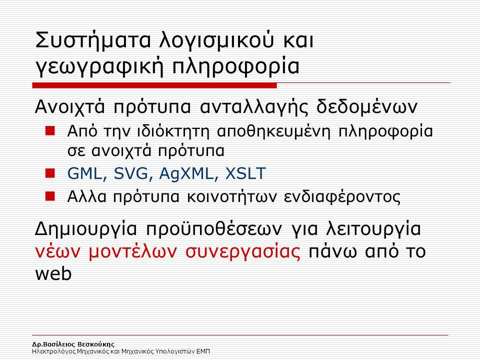 Δρ.Βασίλειος Βεσκούκης Ηλεκτρολόγος Μηχανικός και Μηχανικός Υπολογιστών ΕΜΠ Συστήματα λογισμικού και γεωγραφική πληροφορία Ανοιχτά πρότυπα ανταλλαγής