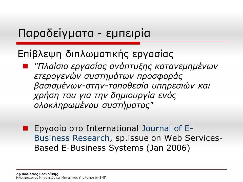Δρ.Βασίλειος Βεσκούκης Ηλεκτρολόγος Μηχανικός και Μηχανικός Υπολογιστών ΕΜΠ Παραδείγματα - εμπειρία Επίβλεψη διπλωματικής εργασίας