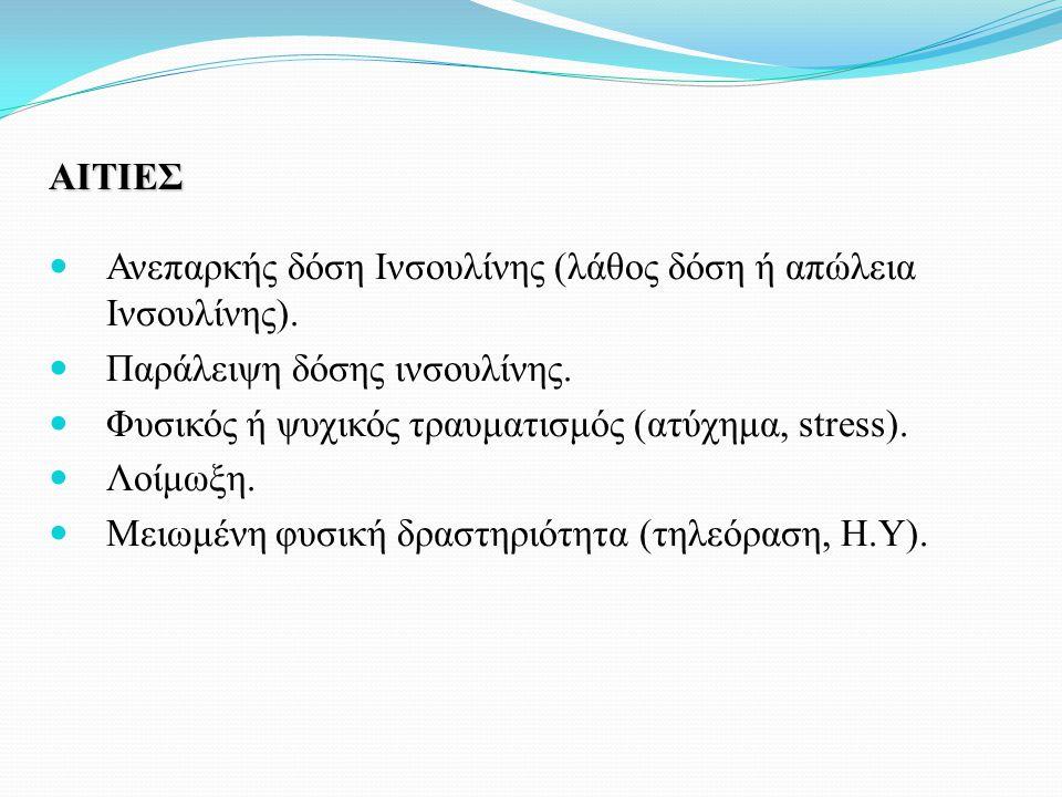 ΑΙΤΙΕΣ Ανεπαρκής δόση Ινσουλίνης (λάθος δόση ή απώλεια Ινσουλίνης). Παράλειψη δόσης ινσουλίνης. Φυσικός ή ψυχικός τραυματισμός (ατύχημα, stress). Λοίμ