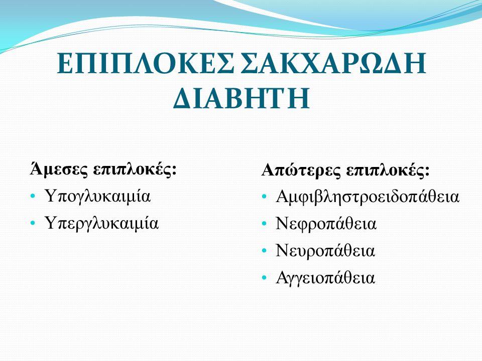 ΕΠΙΠΛΟΚΕΣ ΣΑΚΧΑΡΩΔΗ ΔΙΑΒΗΤΗ Άμεσες επιπλοκές: Υπογλυκαιμία Υπεργλυκαιμία Απώτερες επιπλοκές: Αμφιβληστροειδοπάθεια Νεφροπάθεια Νευροπάθεια Αγγειοπάθεια