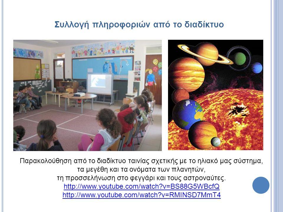 Συλλογή πληροφοριών από το διαδίκτυο Παρακολούθηση από το διαδίκτυο ταινίας σχετικής με το ηλιακό μας σύστημα, τα μεγέθη και τα ονόματα των πλανητών,