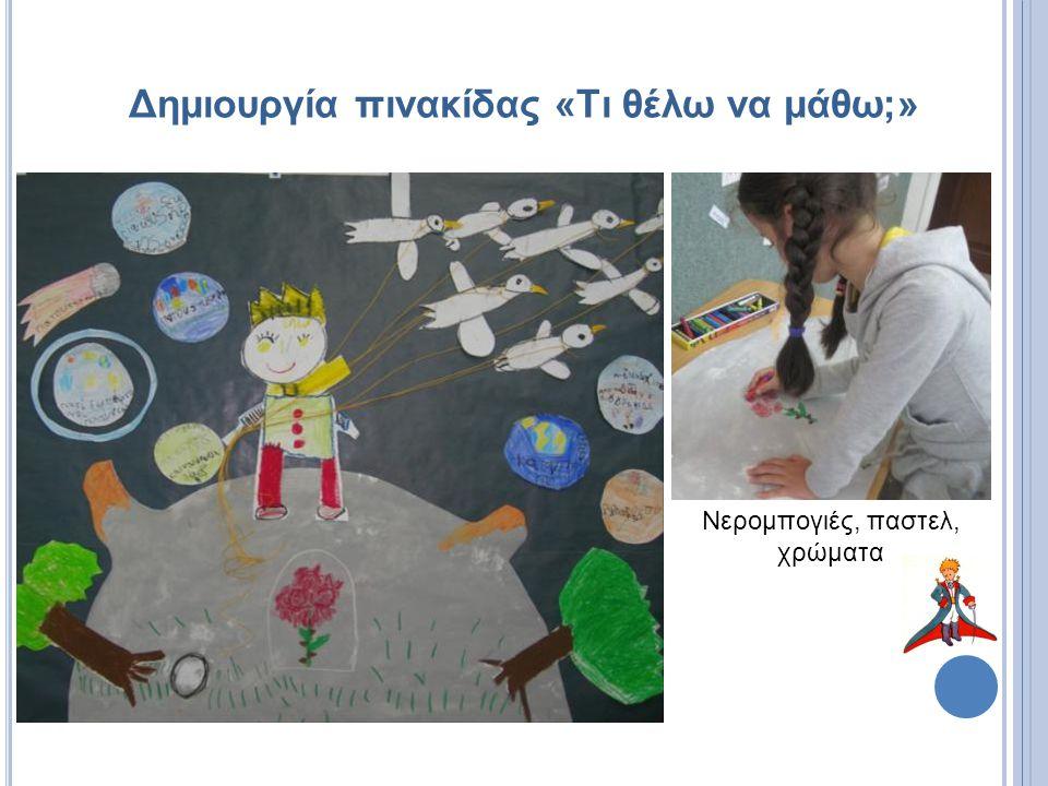 Δημιουργία πινακίδας «Τι θέλω να μάθω;» Νερομπογιές, παστελ, χρώματα