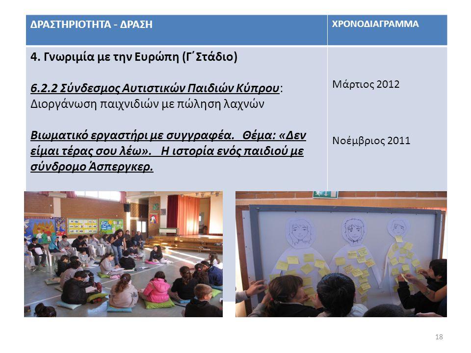 18 ΔΡΑΣΤΗΡΙΟΤΗΤΑ - ΔΡΑΣΗ ΧΡΟΝΟΔΙΑΓΡΑΜΜΑ 4. Γνωριμία με την Ευρώπη (Γ΄Στάδιο) 6.2.2 Σύνδεσμος Αυτιστικών Παιδιών Κύπρου: Διοργάνωση παιχνιδιών με πώλησ