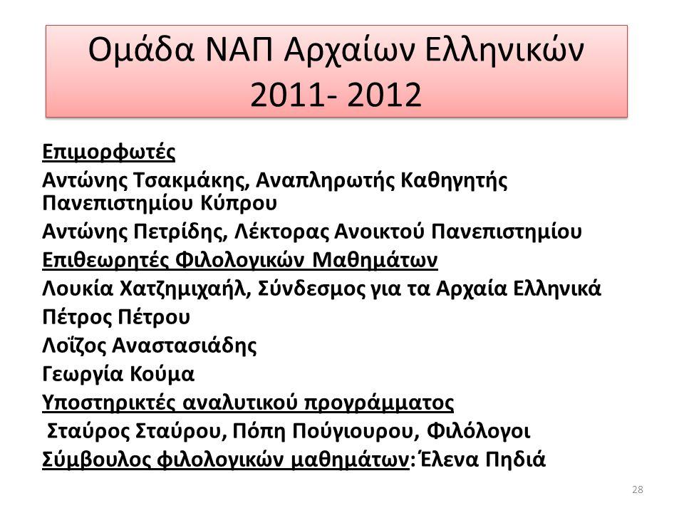 Ομάδα ΝΑΠ Αρχαίων Ελληνικών 2011- 2012 Επιμορφωτές Αντώνης Τσακμάκης, Αναπληρωτής Καθηγητής Πανεπιστημίου Κύπρου Αντώνης Πετρίδης, Λέκτορας Ανοικτού Π