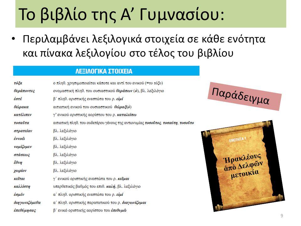 Περιλαμβάνει τις απαραίτητες αρχαιογνωστικές πληροφορίες Το βιβλίο της Α' Γυμνασίου: Παράδειγμα-Ενότητα 3: Πηνελόπη καὶ Ὀδυσσεύς 10