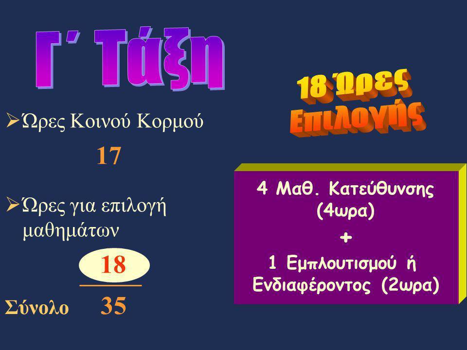 4 Μαθ. Κατεύθυνσης (4ωρα) + 1 Εμπλουτισμού ή Ενδιαφέροντος (2ωρα)  Ώρες Κοινού Κορμού 17  Ώρες για επιλογή μαθημάτων 18 Σύνολο 35