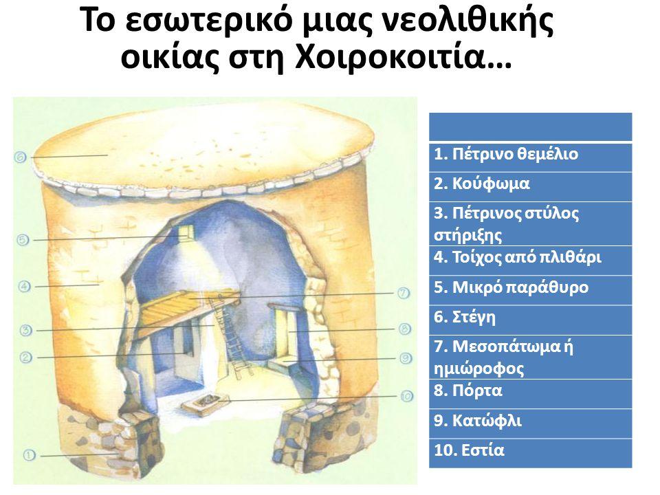 Το εσωτερικό μιας νεολιθικής οικίας στη Χοιροκοιτία… 1. Πέτρινο θεμέλιο 2. Κούφωμα 3. Πέτρινος στύλος στήριξης 4. Τοίχος από πλιθάρι 5. Μικρό παράθυρο
