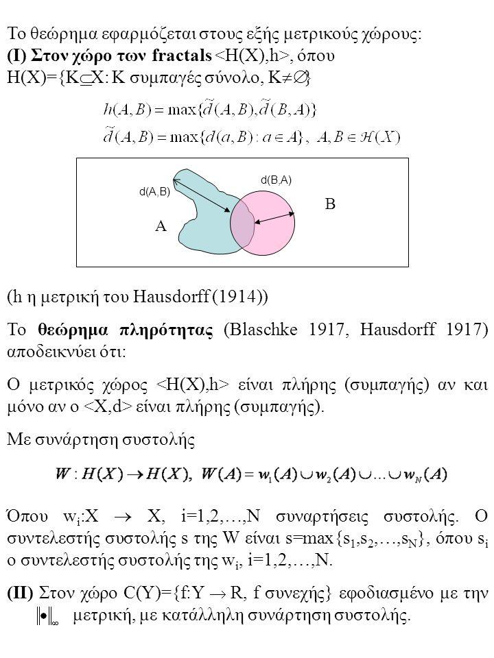 Το θεώρημα εφαρμόζεται στους εξής μετρικούς χώρους: (Ι) Στον χώρο των fractals, όπου H(X)={K  Χ: Κ συμπαγές σύνολο, Κ  } (h η μετρική του Hausdorff (1914)) Το θεώρημα πληρότητας (Blaschke 1917, Hausdorff 1917) αποδεικνύει ότι: Ο μετρικός χώρος είναι πλήρης (συμπαγής) αν και μόνο αν ο είναι πλήρης (συμπαγής).