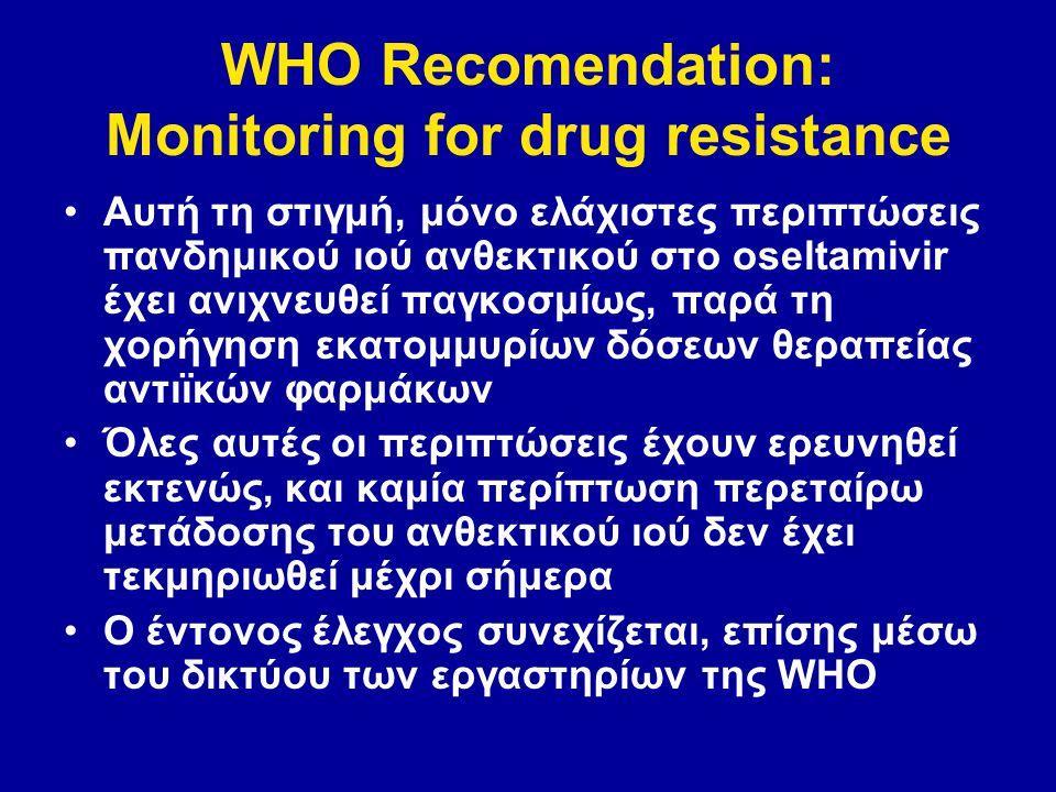 WHO Recomendation: Monitoring for drug resistance Αυτή τη στιγμή, μόνο ελάχιστες περιπτώσεις πανδημικού ιού ανθεκτικού στο oseltamivir έχει ανιχνευθεί παγκοσμίως, παρά τη χορήγηση εκατομμυρίων δόσεων θεραπείας αντιϊκών φαρμάκων Όλες αυτές οι περιπτώσεις έχουν ερευνηθεί εκτενώς, και καμία περίπτωση περεταίρω μετάδοσης του ανθεκτικού ιού δεν έχει τεκμηριωθεί μέχρι σήμερα Ο έντονος έλεγχος συνεχίζεται, επίσης μέσω του δικτύου των εργαστηρίων της WHO