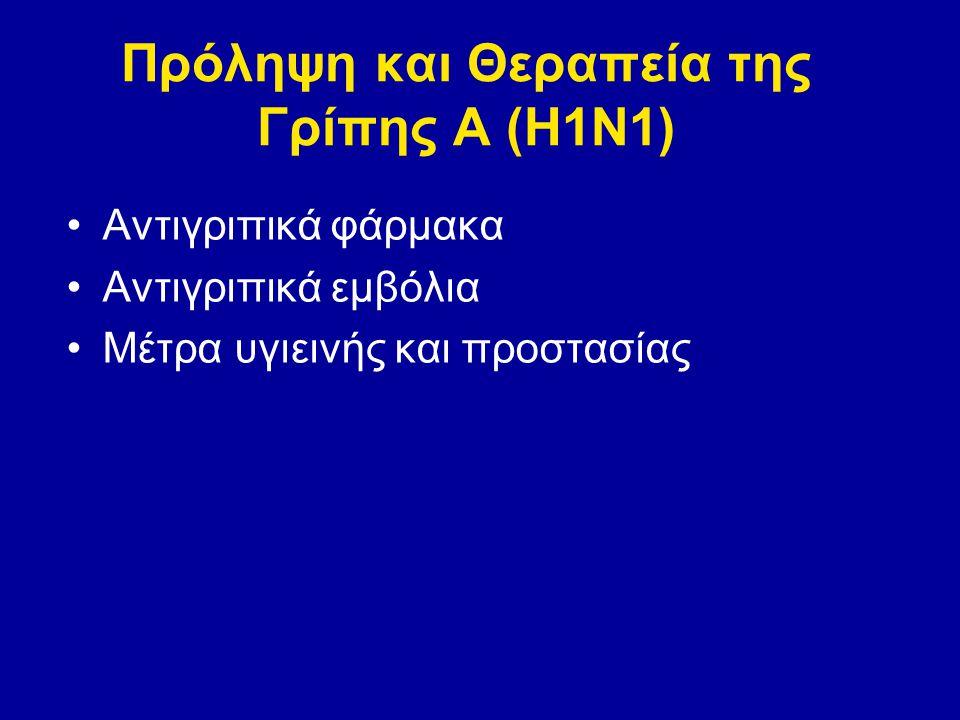 Use of Influenza A (H1N1) 2009 Monovalent Vaccine Recommendations of the Advisory Committee on Immunization Practices (ACIP), 2009 Αρχικές πληθυσμιακές ομάδες στόχοι Έγκυες γυναίκες Πρόσωπα που ζουν με ή παρέχουν φροντίδα για νήπια ηλικίας < 6 μηνών (π.χ., γονείς, αδέρφια, και άτομα που τα φύλασουν), Προσωπικό υπηρεσιών υγειονομικής περίθαλψης και έκτακτης ανάγκης, Παιδιά και νέοι ενήλικοι ηλικίας από 6 μήνες-24 έτη, και Πρόσωπα ηλικίας 25-64 ετών που έχουν παθήσεις που τα θέτουν σε υψηλότερο κίνδυνο για τις επιπλοκές γρίπης