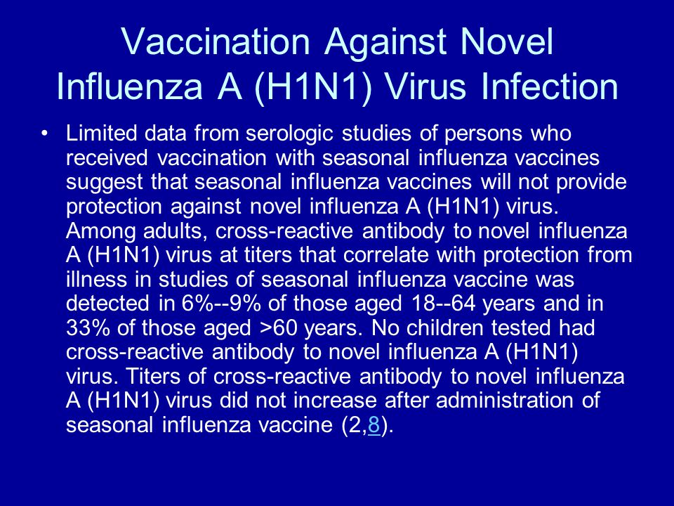 Vaccination Against Novel Influenza A (H1N1) Virus Infection Limited data from serologic studies of persons who received vaccination with seasonal inf