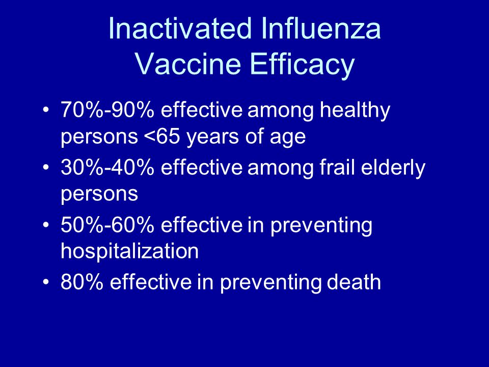 Inactivated Influenza Vaccine Efficacy 70%-90% effective among healthy persons <65 years of age 30%-40% effective among frail elderly persons 50%-60%