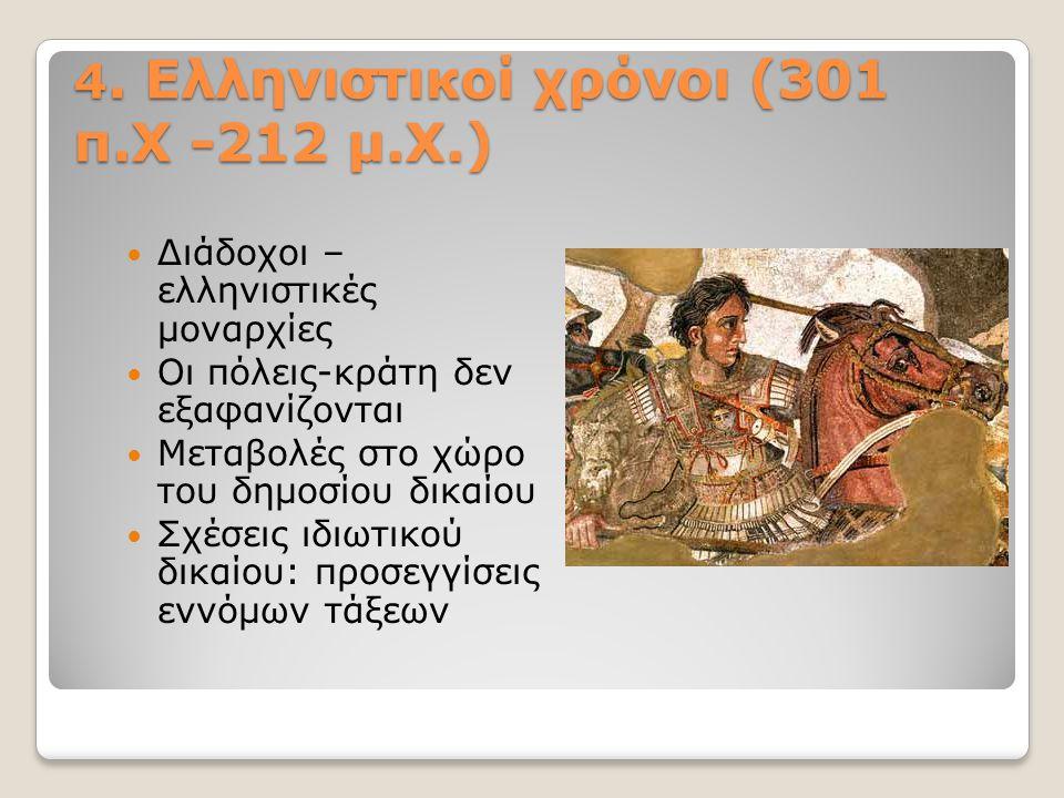4. Ελληνιστικοί χρόνοι (301 π.Χ -212 μ.Χ.) Διάδοχοι – ελληνιστικές μοναρχίες Οι πόλεις-κράτη δεν εξαφανίζονται Μεταβολές στο χώρο του δημοσίου δικαίου
