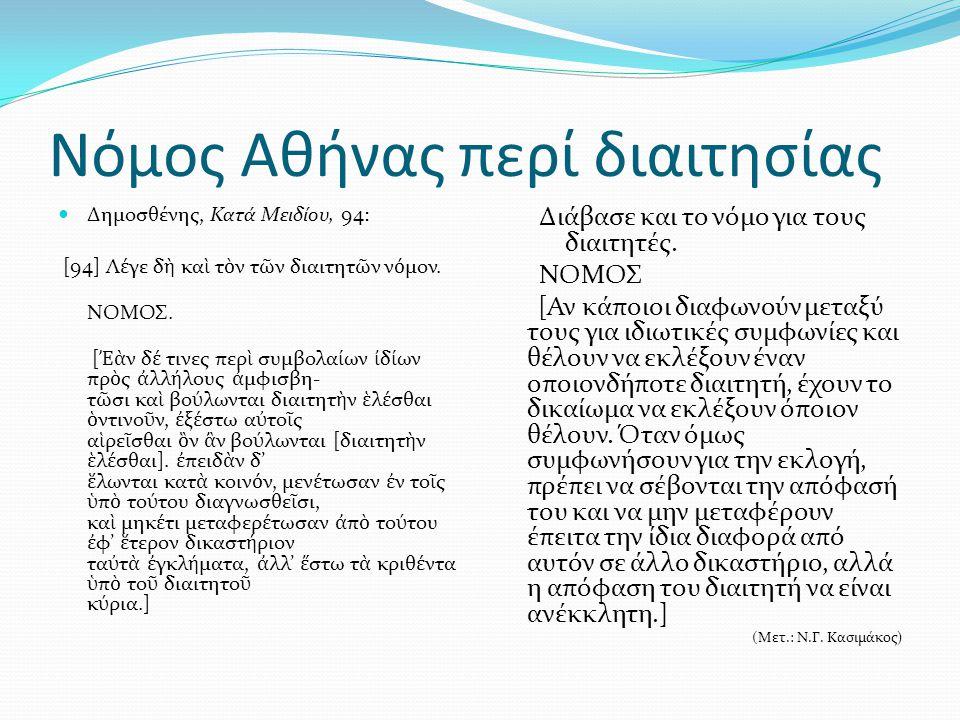 Νόμος Αθήνας περί διαιτησίας Δημοσθένης, Κατά Μειδίου, 94: [94] Λ έ γε δ ὴ κα ὶ τ ὸ ν τ ῶ ν διαιτητ ῶ ν ν ό μον. ΝΟΜΟΣ. [ Ἐὰ ν δ έ τινες περ ὶ συμβολα