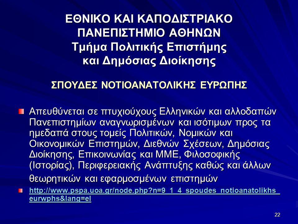 22 ΕΘΝΙΚΟ ΚΑΙ ΚΑΠΟΔΙΣΤΡΙΑΚΟ ΠΑΝΕΠΙΣΤΗΜΙΟ ΑΘΗΝΩΝ Τμήμα Πολιτικής Επιστήμης και Δημόσιας Διοίκησης ΣΠΟΥΔΕΣ ΝΟΤΙΟΑΝΑΤΟΛΙΚΗΣ ΕΥΡΩΠΗΣ Απευθύνεται σε πτυχιούχους Ελληνικών και αλλοδαπών Πανεπιστημίων αναγνωρισμένων και ισότιμων προς τα ημεδαπά στους τομείς Πολιτικών, Νομικών και Οικονομικών Επιστημών, Διεθνών Σχέσεων, Δημόσιας Διοίκησης, Επικοινωνίας και ΜΜΕ, Φιλοσοφικής (Ιστορίας), Περιφερειακής Ανάπτυξης καθώς και άλλων θεωρητικών και εφαρμοσμένων επιστημών http://www.pspa.uoa.gr/node.php?n=9_1_4_spoudes_notioanatolikhs_ eurwphs&lang=el http://www.pspa.uoa.gr/node.php?n=9_1_4_spoudes_notioanatolikhs_ eurwphs&lang=el