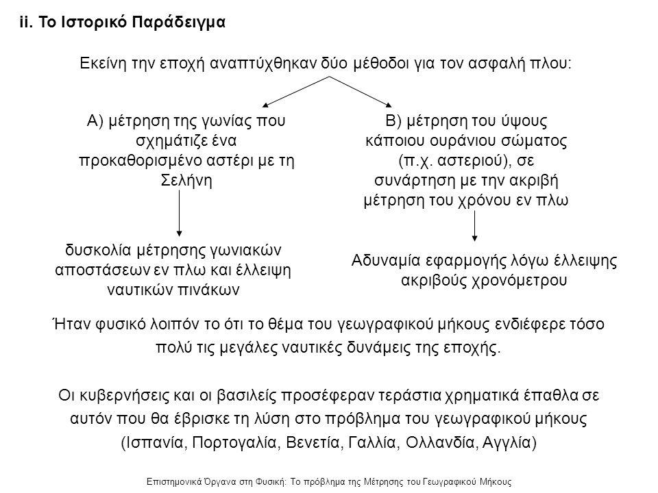 Επιστημονικά Όργανα στη Φυσική: Το πρόβλημα της Μέτρησης του Γεωγραφικού Μήκους ii. Το Ιστορικό Παράδειγμα Ήταν φυσικό λοιπόν το ότι το θέμα του γεωγρ