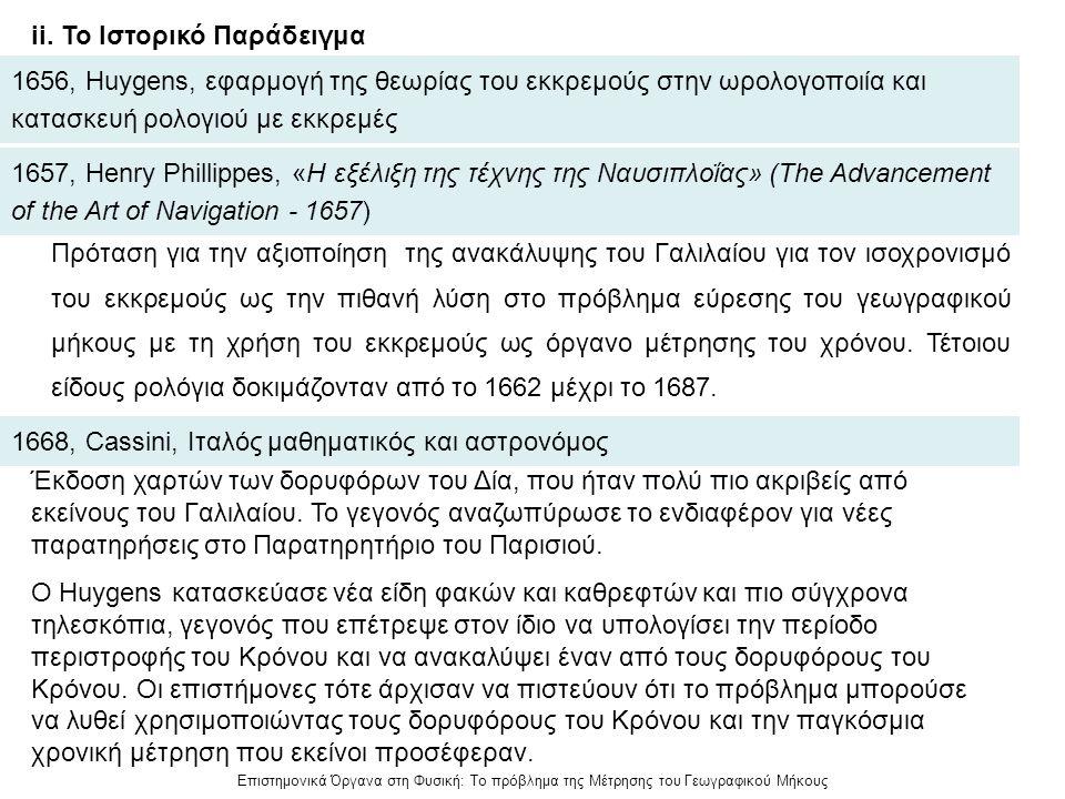Επιστημονικά Όργανα στη Φυσική: Το πρόβλημα της Μέτρησης του Γεωγραφικού Μήκους ii. Το Ιστορικό Παράδειγμα 1656, Huygens, εφαρμογή της θεωρίας του εκκ