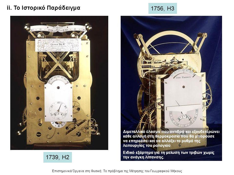 Επιστημονικά Όργανα στη Φυσική: Το πρόβλημα της Μέτρησης του Γεωγραφικού Μήκους ii. Το Ιστορικό Παράδειγμα 1739, Η2 1756, Η3 Διμεταλλικό έλασμα που αν