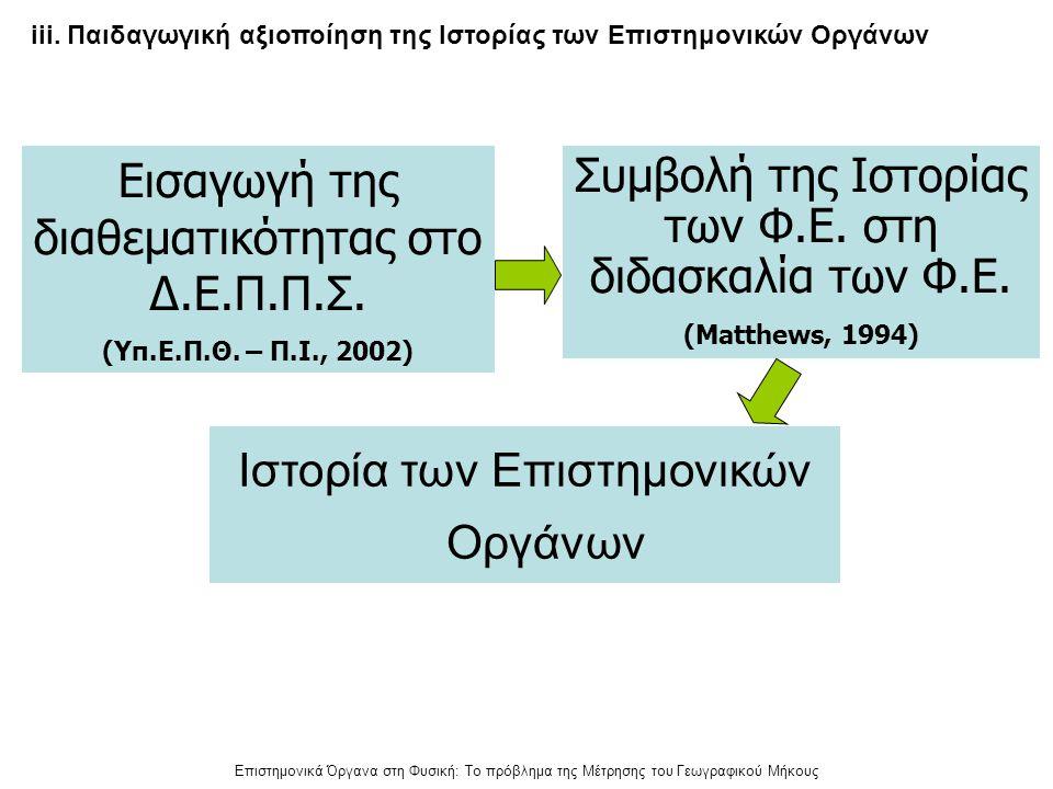 Επιστημονικά Όργανα στη Φυσική: Το πρόβλημα της Μέτρησης του Γεωγραφικού Μήκους Εισαγωγή της διαθεματικότητας στο Δ.Ε.Π.Π.Σ. (Υπ.Ε.Π.Θ. – Π.Ι., 2002)