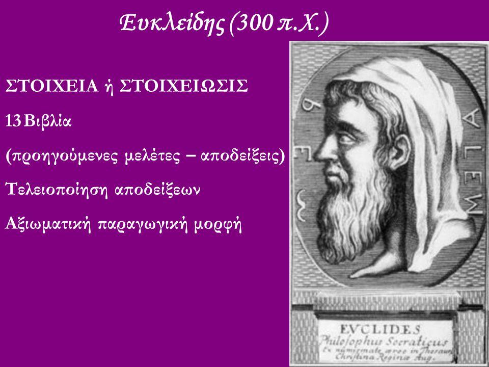 Ευκλείδης (300 π.Χ.) ΣΤΟΙΧΕΙΑ ή ΣΤΟΙΧΕΙΩΣΙΣ 13Βιβλία (προηγούμενες μελέτες – αποδείξεις) Τελειοποίηση αποδείξεων Αξιωματική παραγωγική μορφή