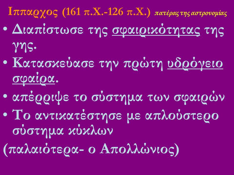 Ιππαρχος (161 π.Χ.-126 π.Χ.) πατέρας της αστρονομίας Διαπίστωσε της σφαιρικότητας της γης.