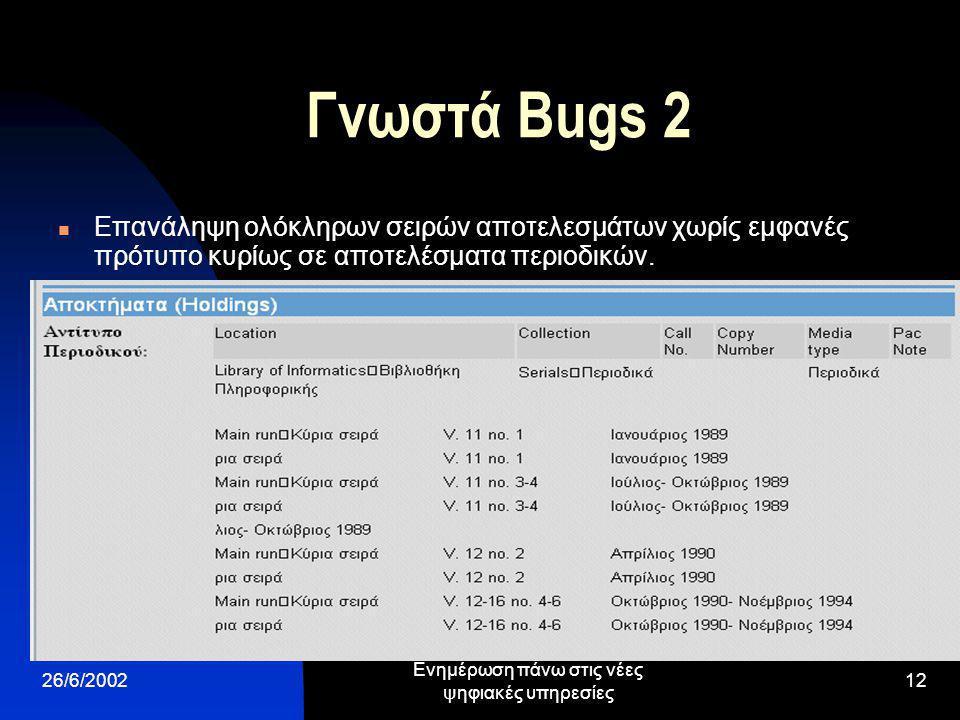 26/6/2002 Ενημέρωση πάνω στις νέες ψηφιακές υπηρεσίες 12 Γνωστά Bugs 2 Επανάληψη ολόκληρων σειρών αποτελεσμάτων χωρίς εμφανές πρότυπο κυρίως σε αποτελέσματα περιοδικών.