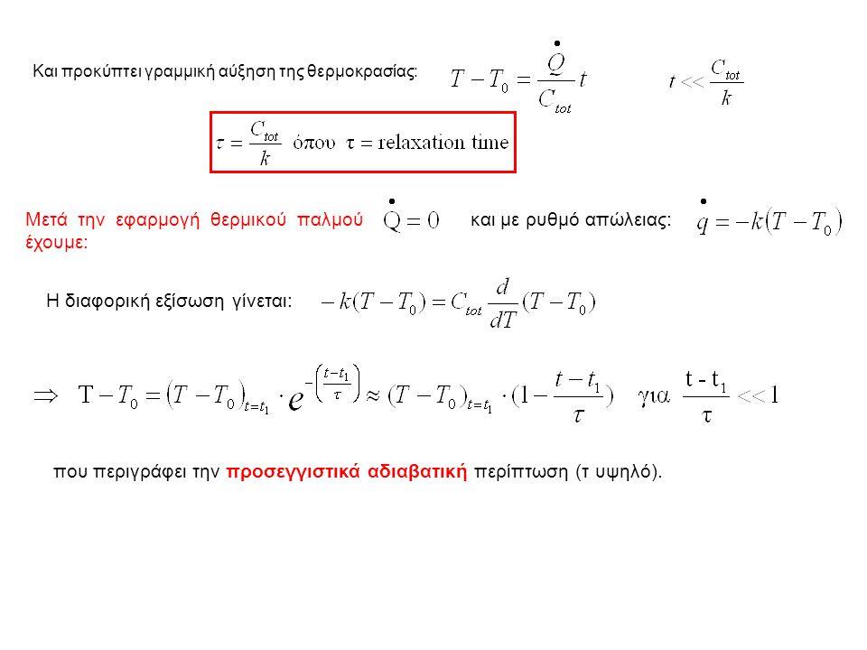 Και προκύπτει γραμμική αύξηση της θερμοκρασίας: Μετά την εφαρμογή θερμικού παλμού έχουμε: και με ρυθμό απώλειας: Η διαφορική εξίσωση γίνεται: που περιγράφει την προσεγγιστικά αδιαβατική περίπτωση (τ υψηλό).