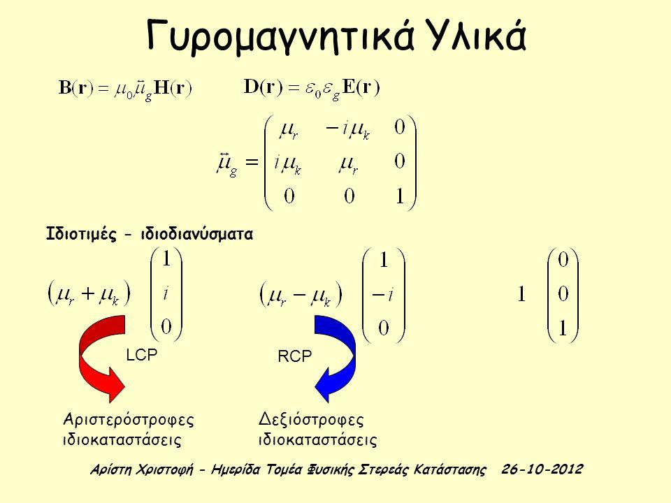 Αρίστη Χριστοφή - Ημερίδα Τομέα Φυσικής Στερεάς Κατάστασης 26-10-2012 Μαγνητικά Υλικά Δυναμική μαγνήτισης: γυρομαγνητικός λόγος συχνότητα Larmor